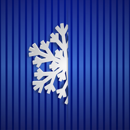 Christmas illustration with one white big snowflake which protrudes from the cut on a striped background in blue colors 일러스트