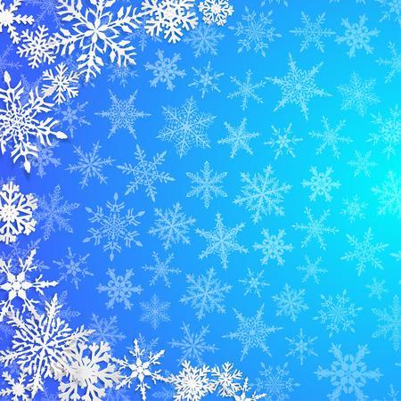 Weihnachtsillustration mit Halbkreis der großen weißen Schneeflocken mit Schatten auf hellblauem Hintergrund
