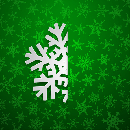 Christmas illustration with one white big snowflake which protrudes from the cut on a snowy background in green colors