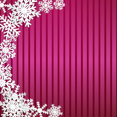 Christmas illustration with semicircle of big white snowflakes with shadows on striped crimson background