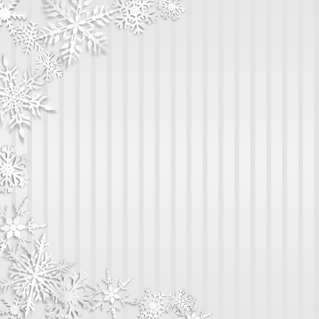Christmas illustration with semicircle of big white snowflakes with shadows on striped gray background