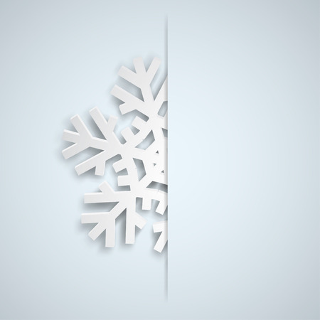 Christmas illustration with one white big snowflake which protrudes from the cut on a light blue background 일러스트