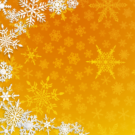 Christmas illustration with semicircle of big white snowflakes with shadows on yellow background