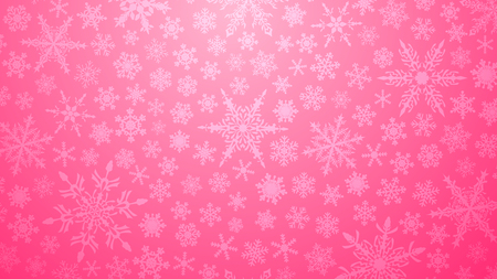 Christmas illustration with various small snowflakes on gradient background in pink colors
