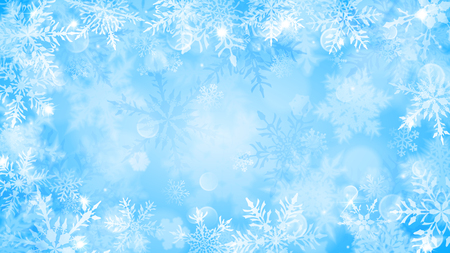 Christmas illustration with white blurred snowflakes, glare and sparkles on light blue background