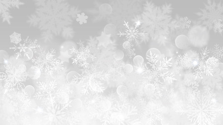 Christmas illustration with white blurred snowflakes, glare and sparkles on gray background