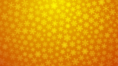 Christmas illustration with various small snowflakes on gradient background in yellow colors Illusztráció