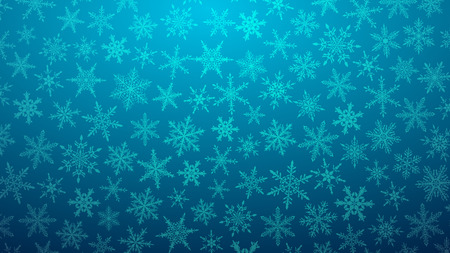 Christmas illustration with various small snowflakes on gradient background in light blue colors