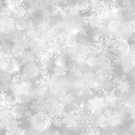 Christmas seamless pattern with white blurred snowflakes, glare and sparkles on gray background 向量圖像