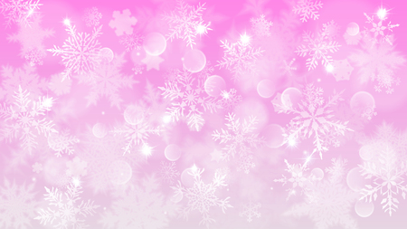 Christmas illustration with white blurred snowflakes, glare and sparkles on pink background
