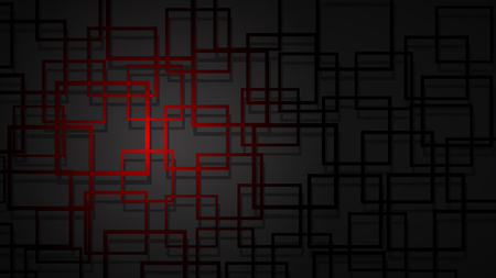Abstract illustration of dark red intersecting squares with shadows on black background