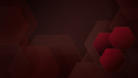 Abstract background of hexagons and halftone dots in dark red colors