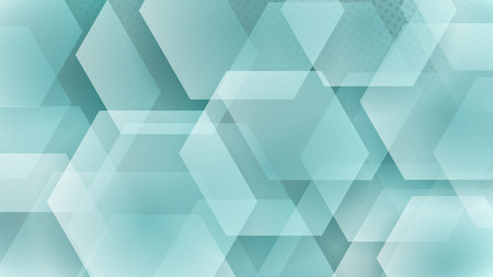 Abstract background of hexagons and halftone dots in white and turquoise colors