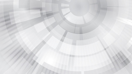 Abstract background of concentric circular elements and halftone dots in white and gray colors