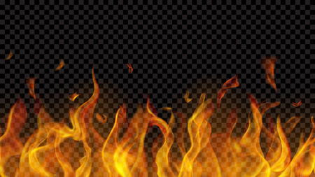 Translucent fire flame with horizontal seamless repeat on transparent background. For used on dark backgrounds. Transparency only in vector format Vecteurs