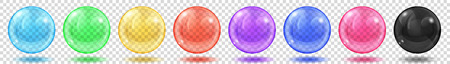 Ensemble de sphères colorées translucides avec des reflets et des ombres sur fond transparent. Transparence uniquement en format vectoriel Vecteurs