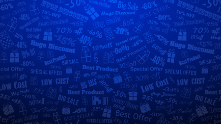 Background on discounts and special offers, made of inscriptions and gift boxes, in blue colors