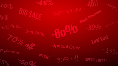 Background on discounts and special offers, made of inscriptions, in red colors Illustration