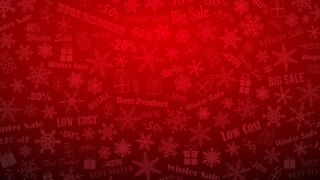 Background on winter discounts and special offers, made of snowflakes, inscriptions and gift boxes, in red colors