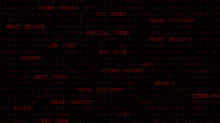 Cyber monday background of zeros, ones and inscriptions in dark red colors