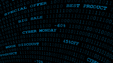 Cyber monday background of zeros, ones and inscriptions in dark blue colors