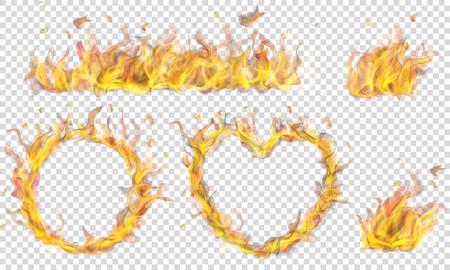 Coeur translucide, anneau, feu de camp et longue bannière de flamme de feu sur fond transparent. Transparence uniquement en format vectoriel Vecteurs