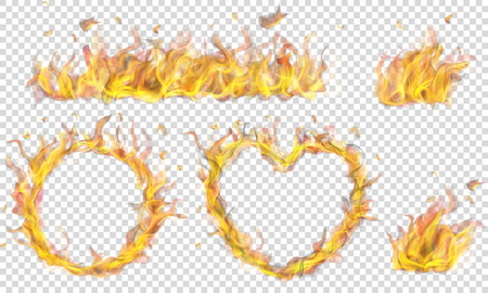 Translucent heart, ring, campfire and long banner of fire flame on transparent background. Transparency only in vector format