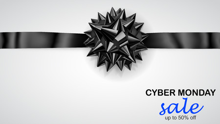 Black bow with horizontal ribbon and inscription Cyber Monday Sale Çizim