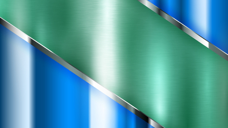 Abstract background with green and blue metal texture with shiny strips