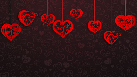 Background with hanging paper volume hearts with curls, red on dark vinous