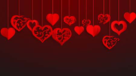 Background with hanging paper volume hearts with curls, red on vinous Ilustração