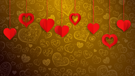 Background with hanging paper volume hearts, red on golden