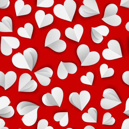 Modèle sans couture de nombreux coeurs de volume de papier, blanc sur rouge