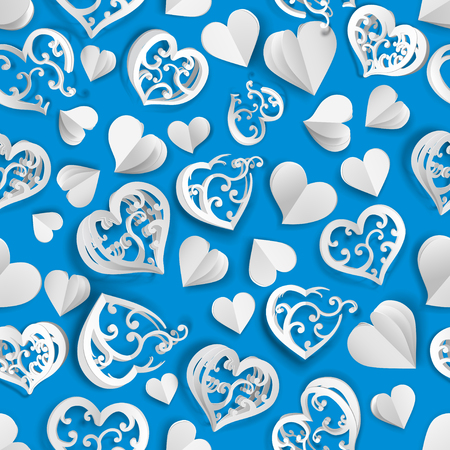 Seamless pattern of many paper volume hearts with holes and without, white on light blue