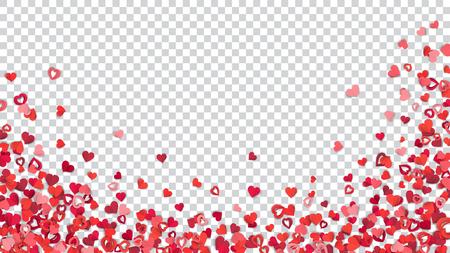Muchos pequeños corazones de papel rojo y rosa sobre fondo transparente, ubicados en la parte inferior.