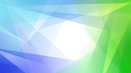 Abstract background of straight intersecting lines and polygons in light blue and green colors Ilustração