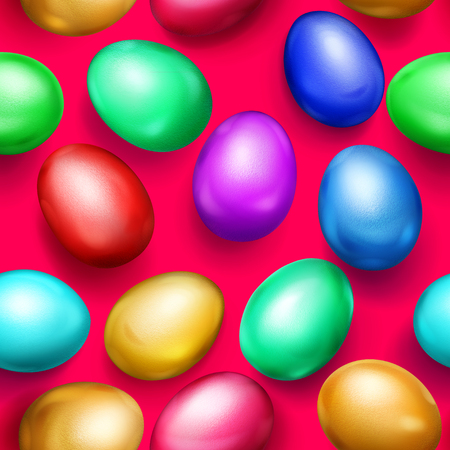 Seamless pattern of realistic colored Easter eggs with shadows on red background Фото со стока - 125222994