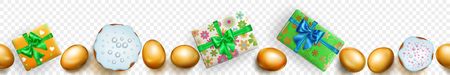 Horizontal seamless banner with horizontally repeated realistic golden Easter eggs, cakes and gift boxes with soft shadows on transparent background