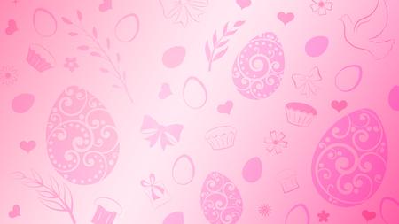 Sfondo di uova, fiori, torta, confezione regalo e altri simboli pasquali in colori rosa