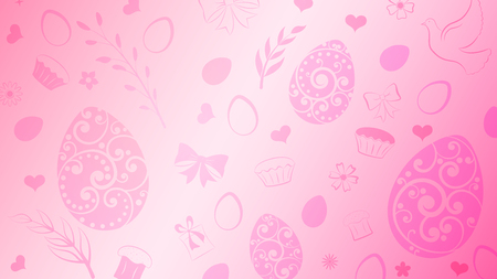 Tło jajek, kwiatów, ciasta, pudełka na prezenty i innych symboli wielkanocnych w różowych kolorach