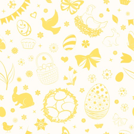 Seamless pattern of eggs, flowers, cakes, hare, hen, chicken and other Easter symbols in yellow colors