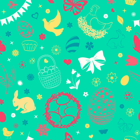 Seamless pattern of eggs, flowers, cakes, hare, hen, chicken and other Easter symbols, multicolored on light green