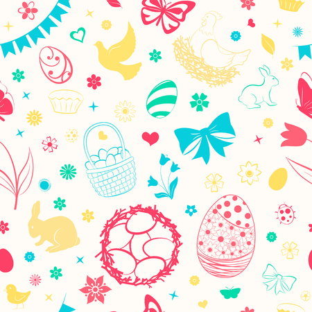 Seamless pattern of eggs, flowers, cakes, hare, hen, chicken and other Easter symbols, multicolored on white