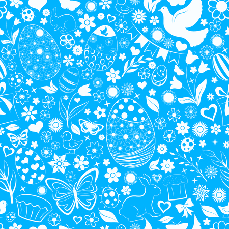 Seamless pattern of eggs, flowers, cakes, hare, hen, chicken and other Easter symbols, white on blue
