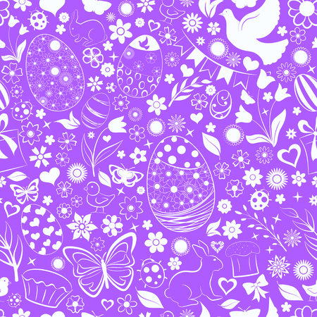 Seamless pattern of eggs, flowers, cakes, hare, hen, chicken and other Easter symbols, white on violet Ilustração