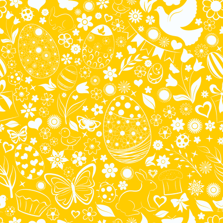 Seamless pattern of eggs, flowers, cakes, hare, hen, chicken and other Easter symbols, white on yellow Ilustração
