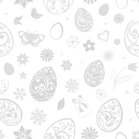 Seamless pattern of eggs, flowers, gift box, chicken and other Easter symbols, gray on white Ilustração