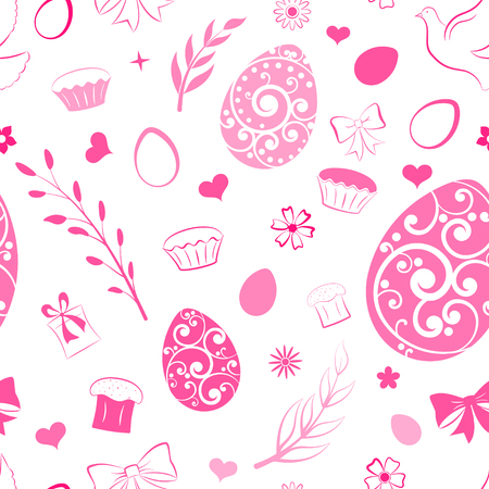 Seamless pattern of eggs, flowers, cake, gift box and other Easter symbols, pink on white