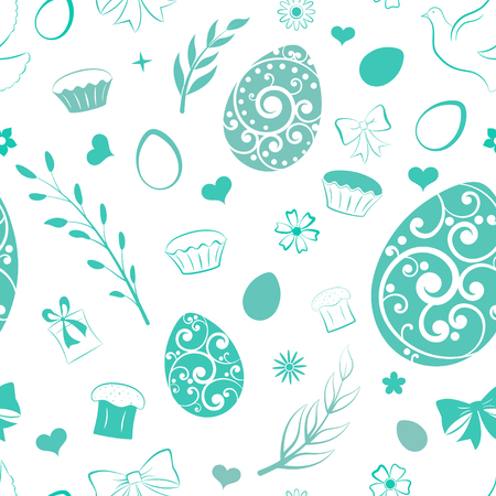 Seamless pattern of eggs, flowers, cake, gift box and other Easter symbols, green on white