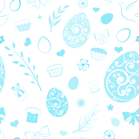 Seamless pattern of eggs, flowers, cake, gift box and other Easter symbols, light blue on white